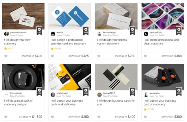 Fiverr:自由兼職商品頁面