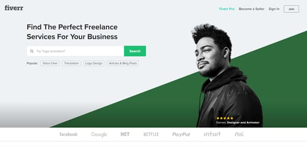 Fiverr:自由兼職的好平台首頁